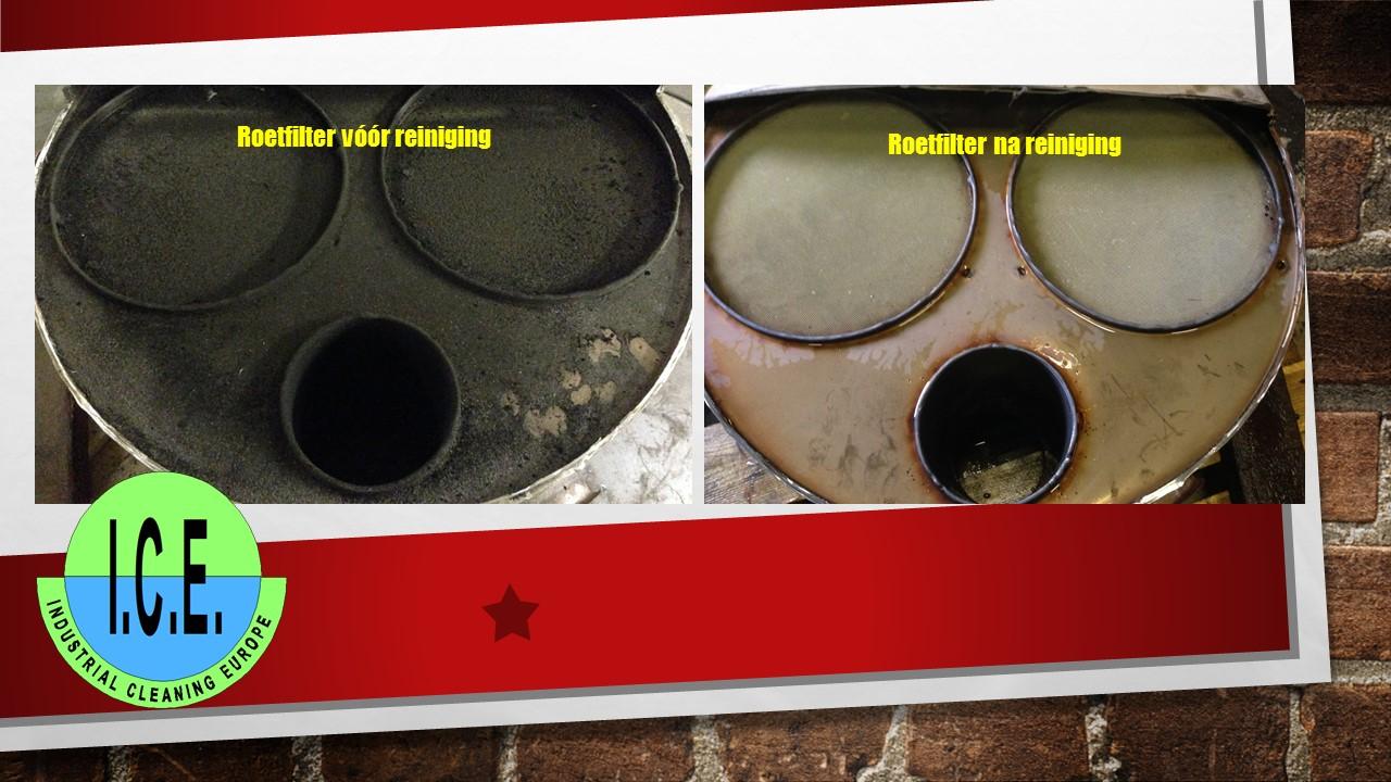 Reiniging roetfilters voor- en na